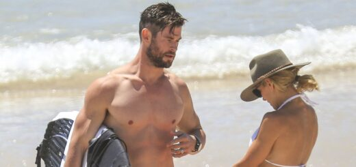hemsworth surfing at the beach