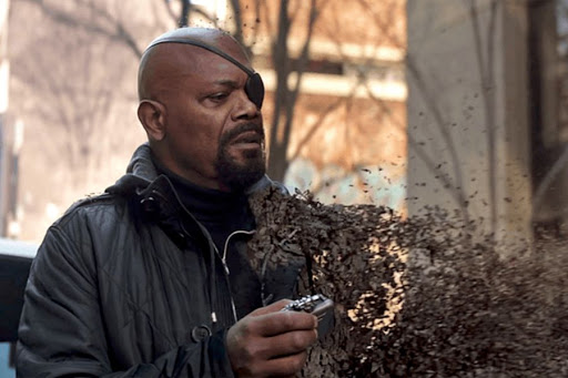 nick fury with captain marvel pager