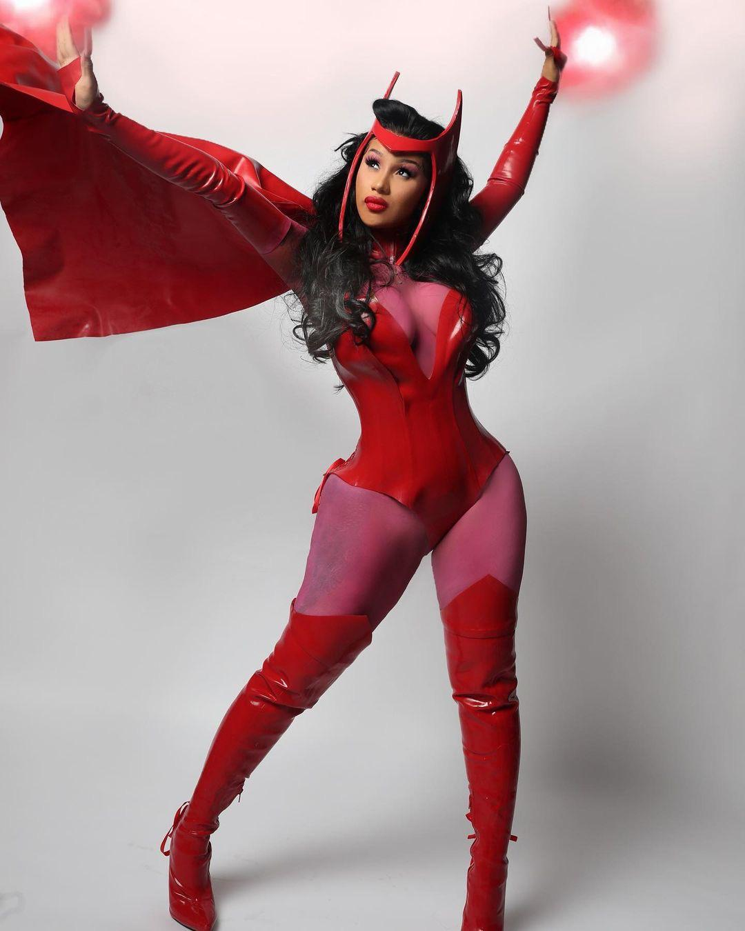 Cardi B dressed as Scarlet Witch for Halloween 2020