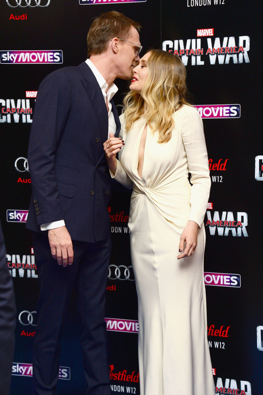 Paul Bettany and Elizabeth Olsen at Captain America Civil War Premiere