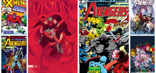 Photo Collage of Scarlet Witch, Vision, and Avengers cover art from Marvel Comics