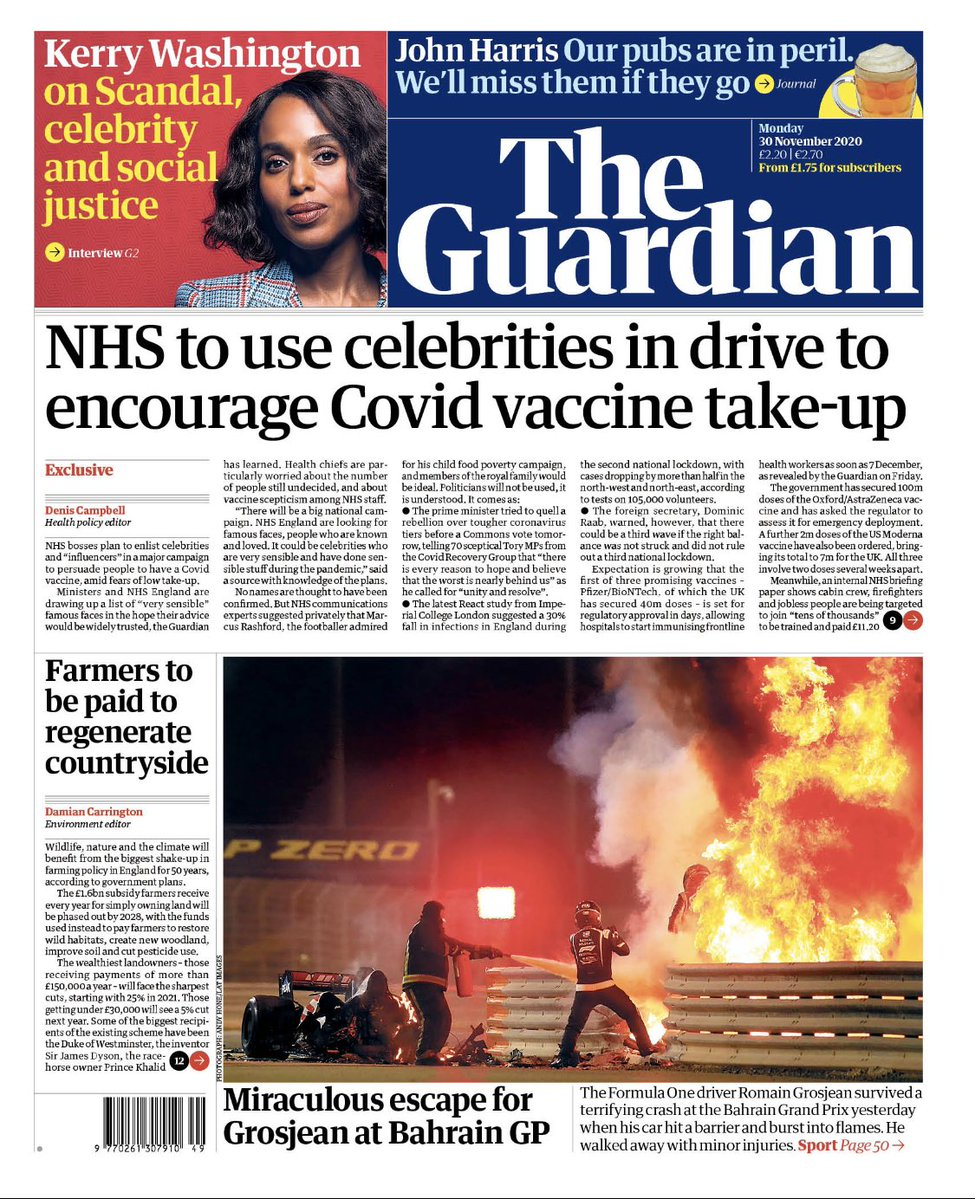 The Guardian Cover of sensible celebrities