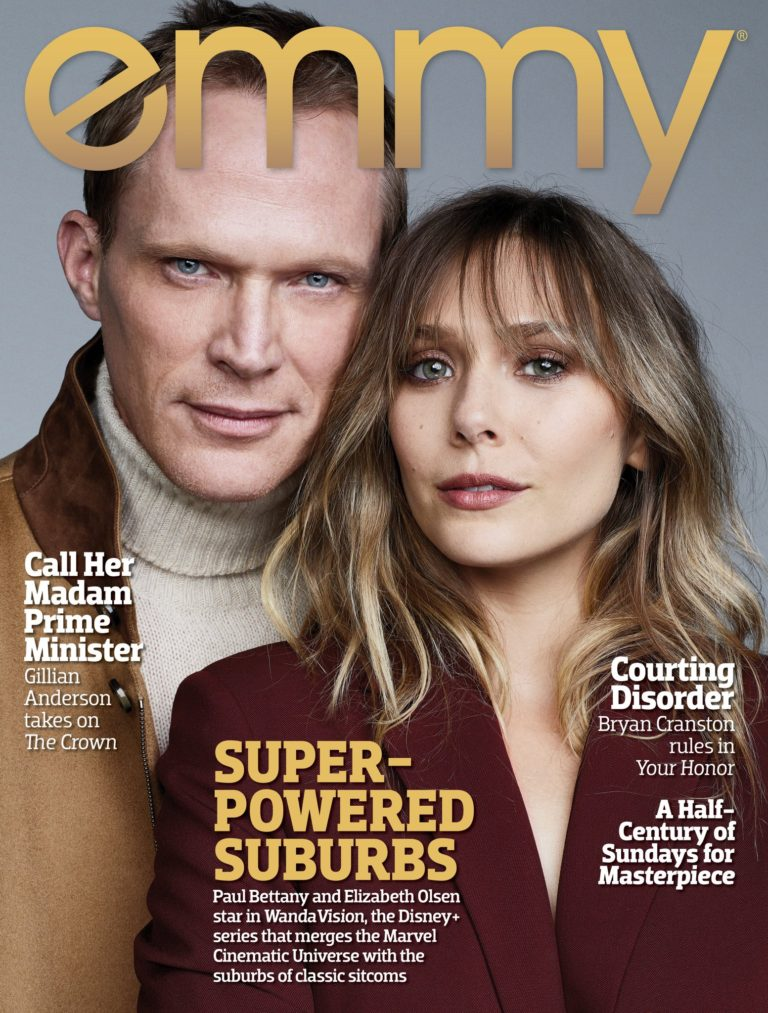 Emmy Magazine Cover with Elizabeth Olsen and Paul Bettany