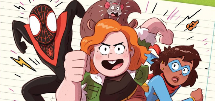 Miles Morals, Ms Marvel, Squirrel Girl on Cover for Avergers Book