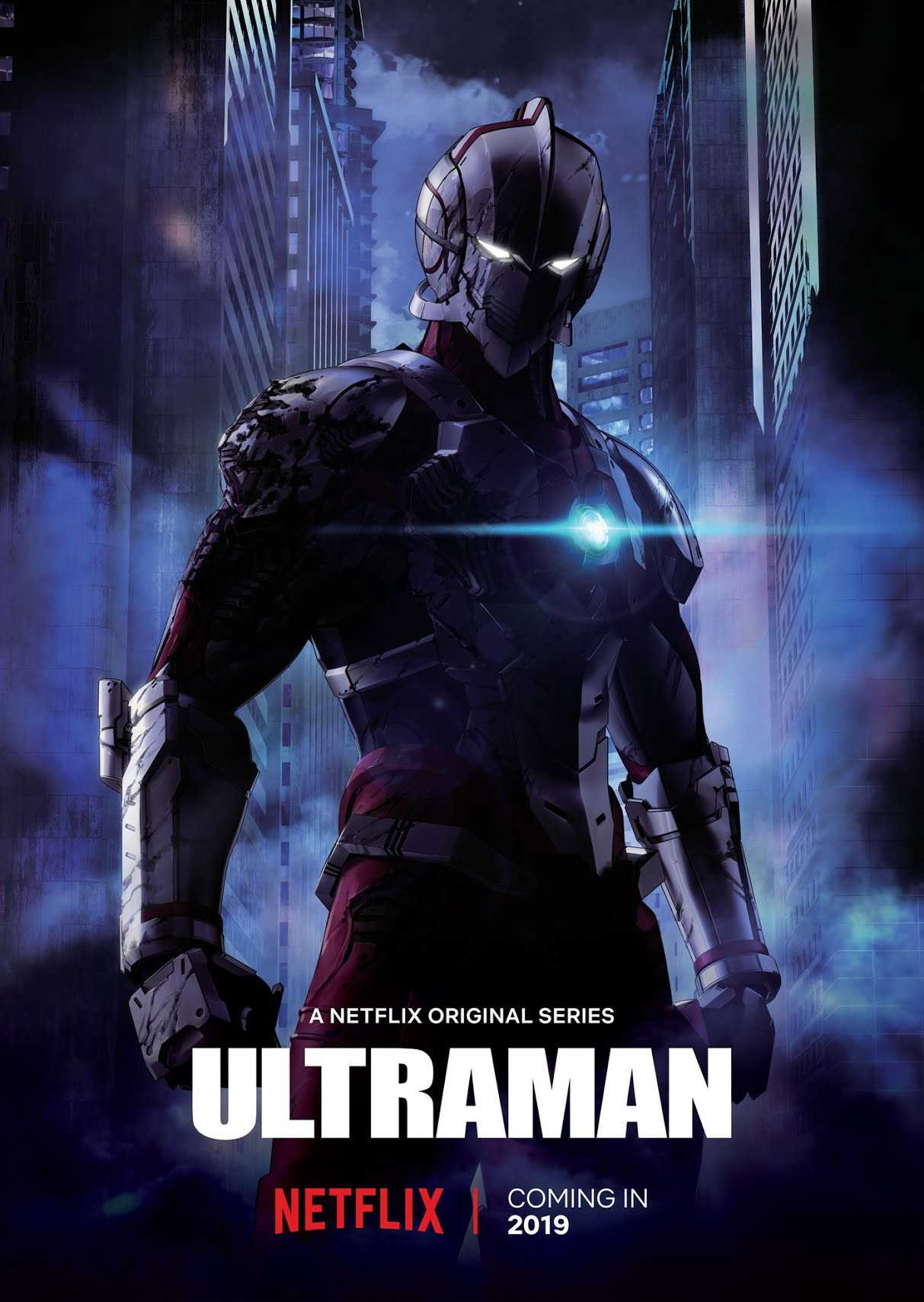 Netflix Ultraman anime series poster featuring the hero in armor