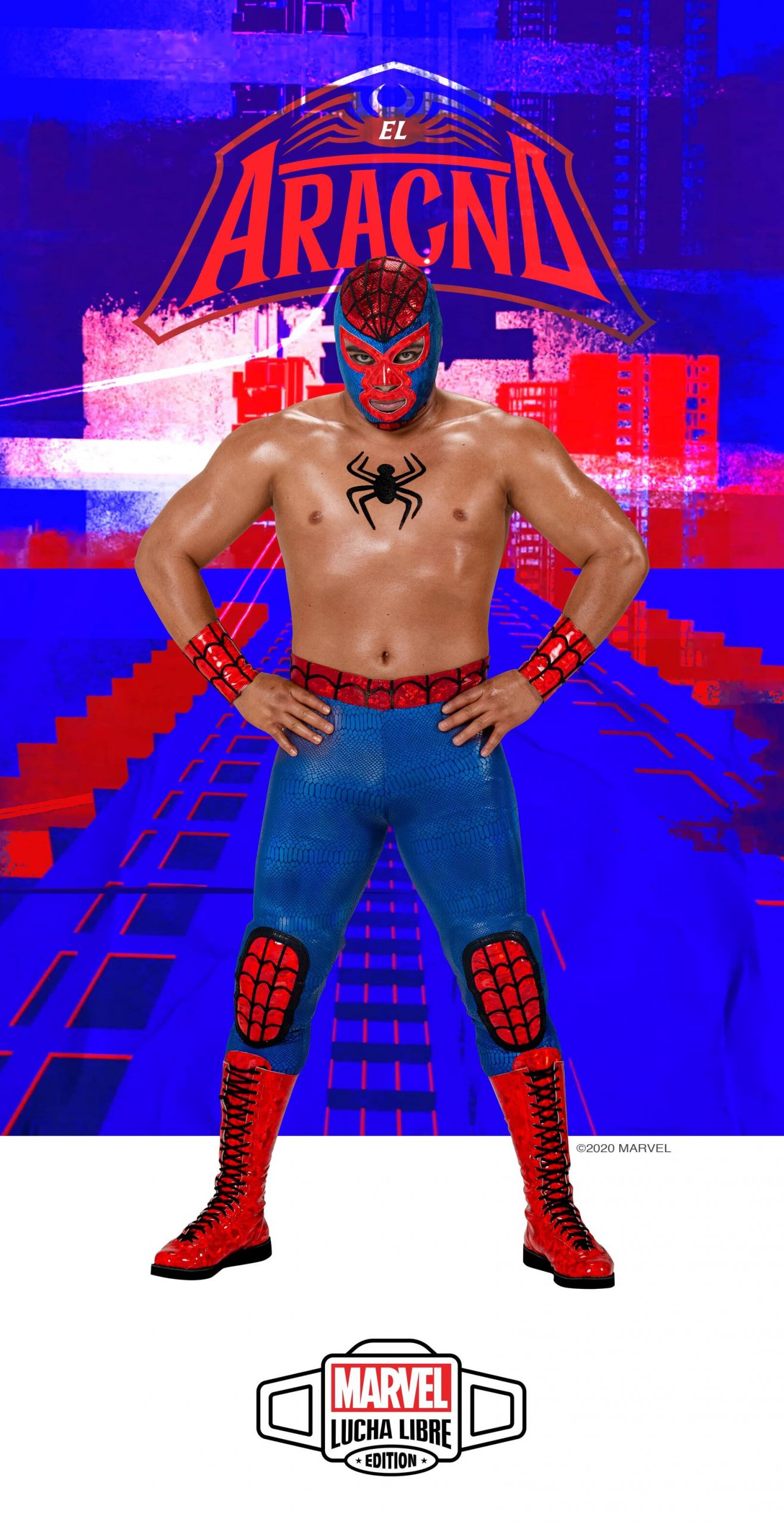 Lucha Libre Wrestler El Aracno in his costume