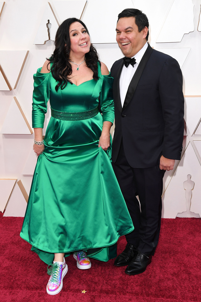 Kristen Anderson-Lopez and Robert Lopez at Academy Awards in formal wear