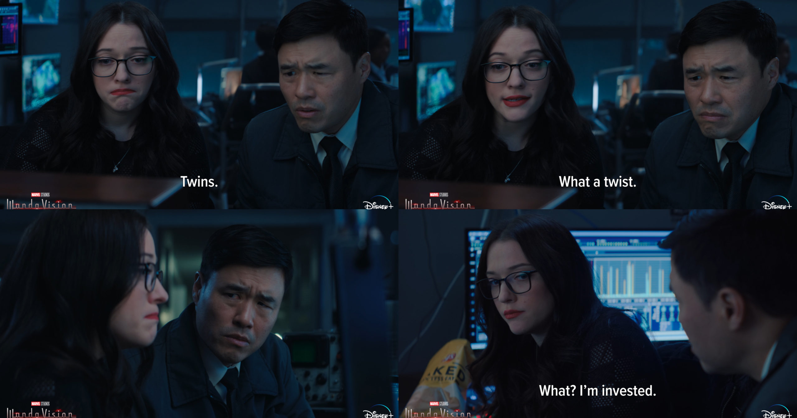 Kat Dennings as Dr. Lewis and Randall Park as Jimmy Woo in WandaVision