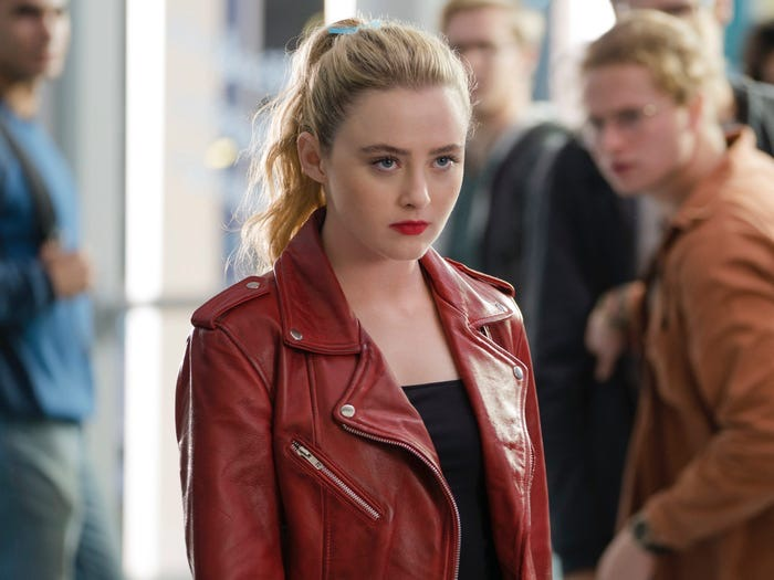 Kathryn Newton in Red Leather Jacket in the movie titled Freaky