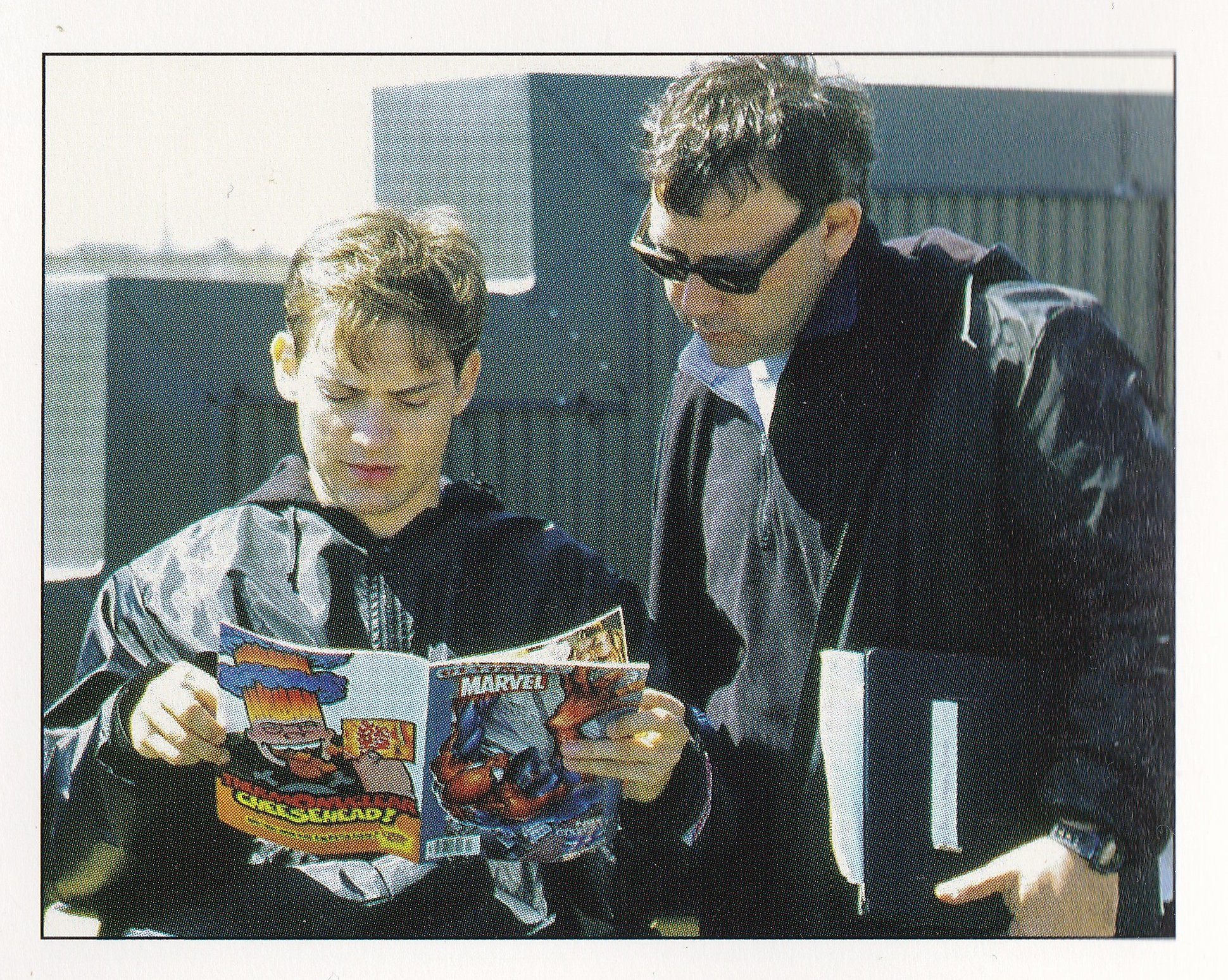 Sam Raimi and Tobey Maguire reading Spider-Man