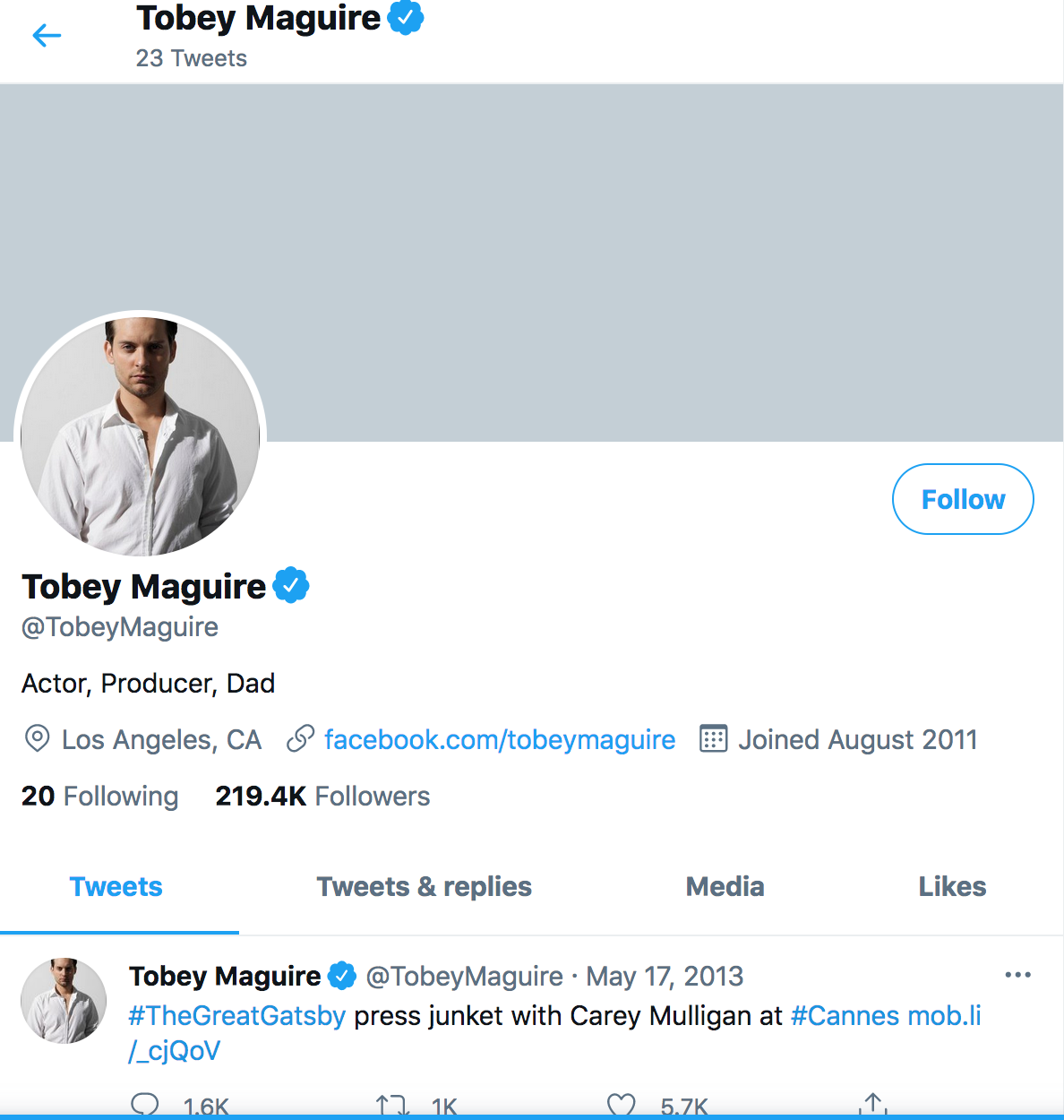 Tobery Maguire Returns to Twitter