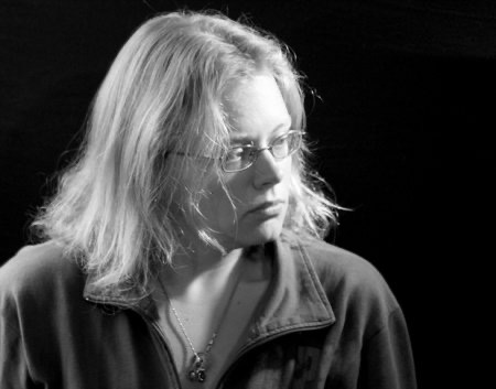 Seanan McGuire in black and white