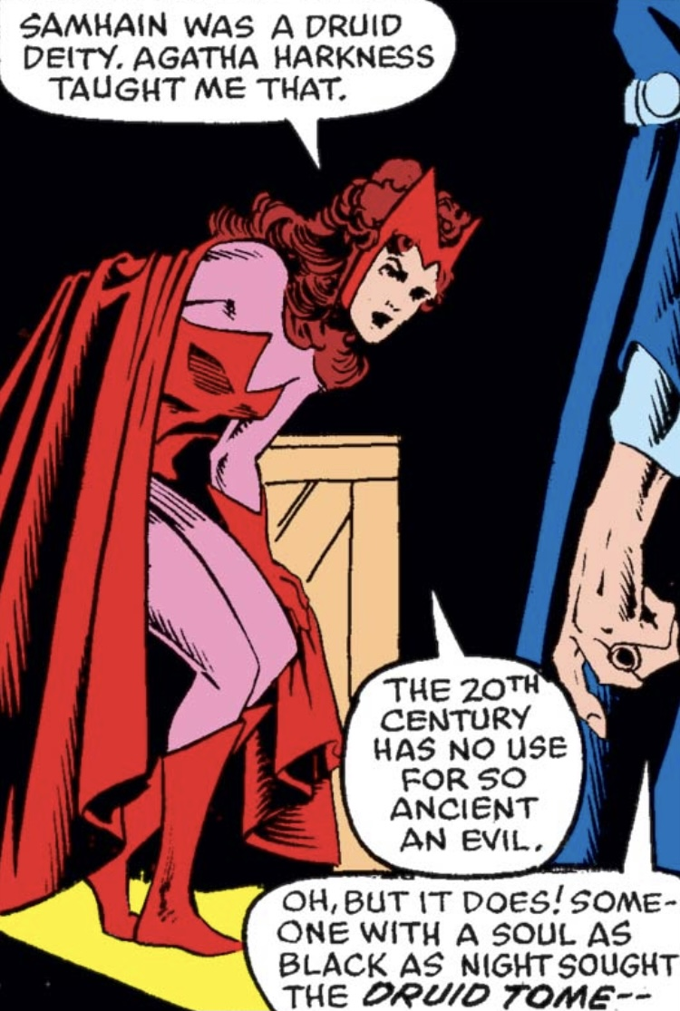 The Druid Tome, Agatha Harkness, and the Scarlet Witch in Marvel Comic