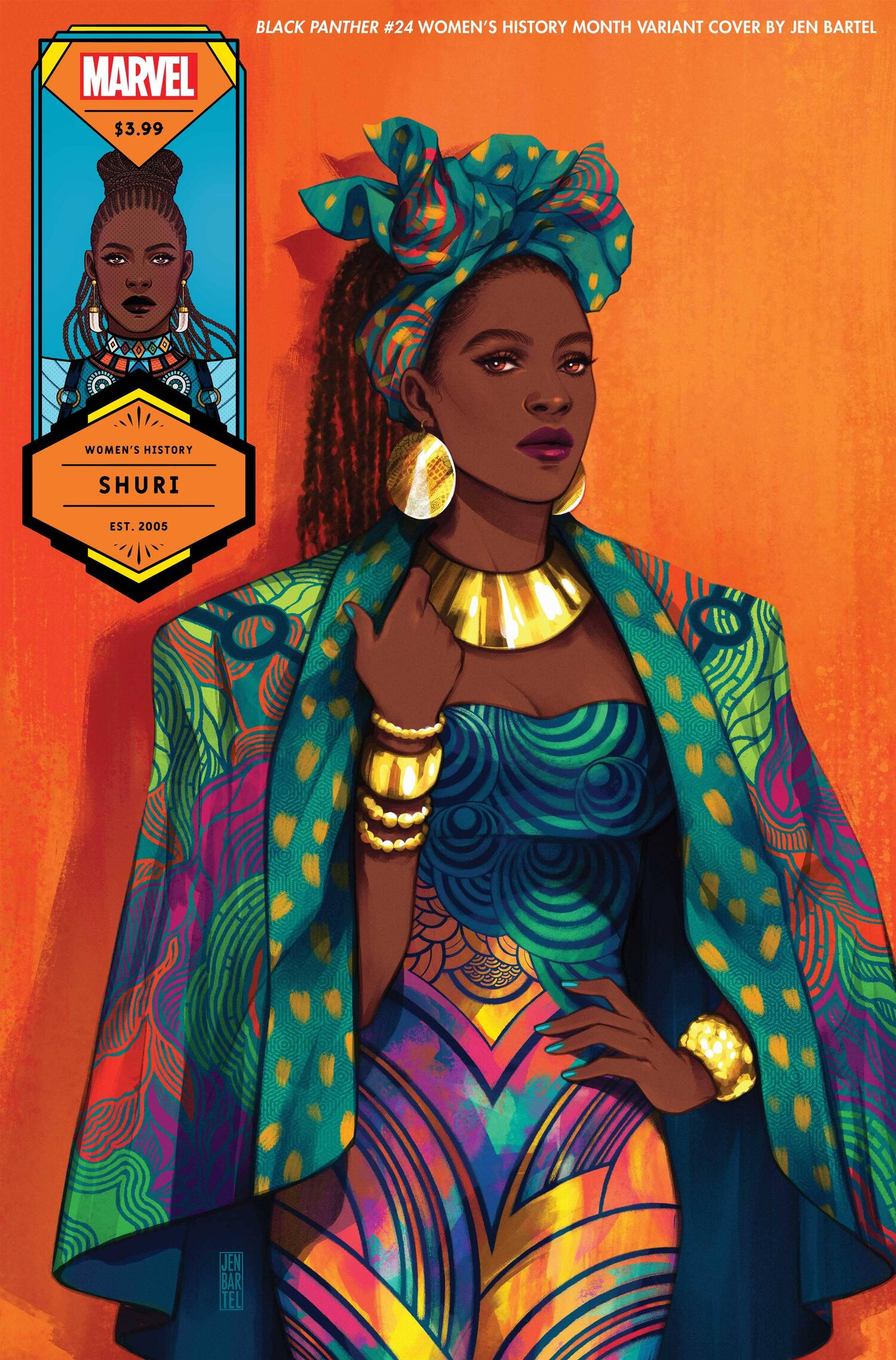 BLACK PANTHER #24 WOMEN'S HISTORY MONTH VARIANT COVER by JEN BARTEL