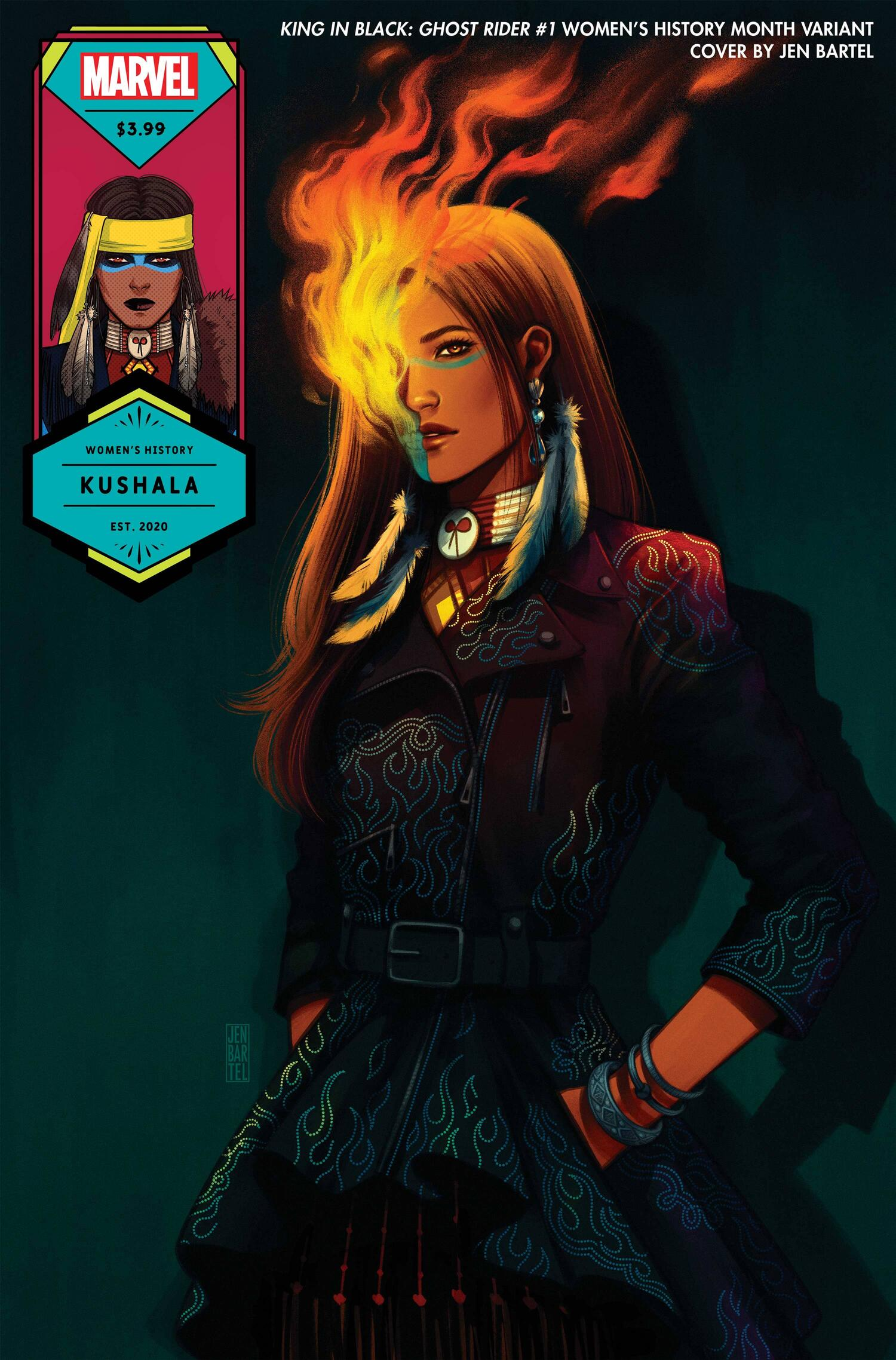 KING IN BLACK: GHOST RIDER #1 WOMEN'S HISTORY MONTH VARIANT COVER by JEN BARTEL
