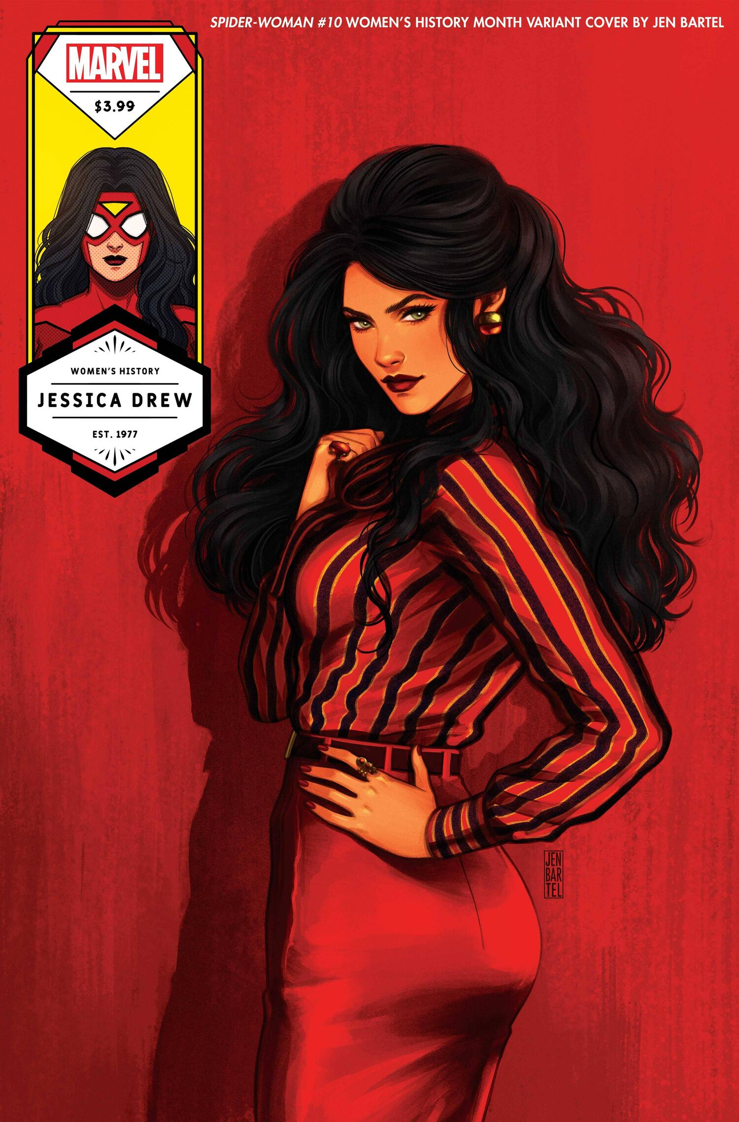 SPIDER-WOMAN #10 WOMEN'S HISTORY MONTH VARIANT COVER by JEN BARTEL
