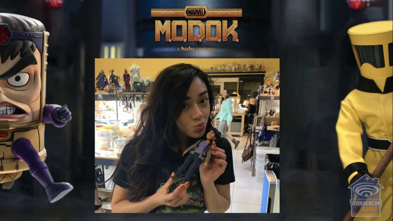 Aimee Garcia with stop-motion doll M.O.D.O.K.