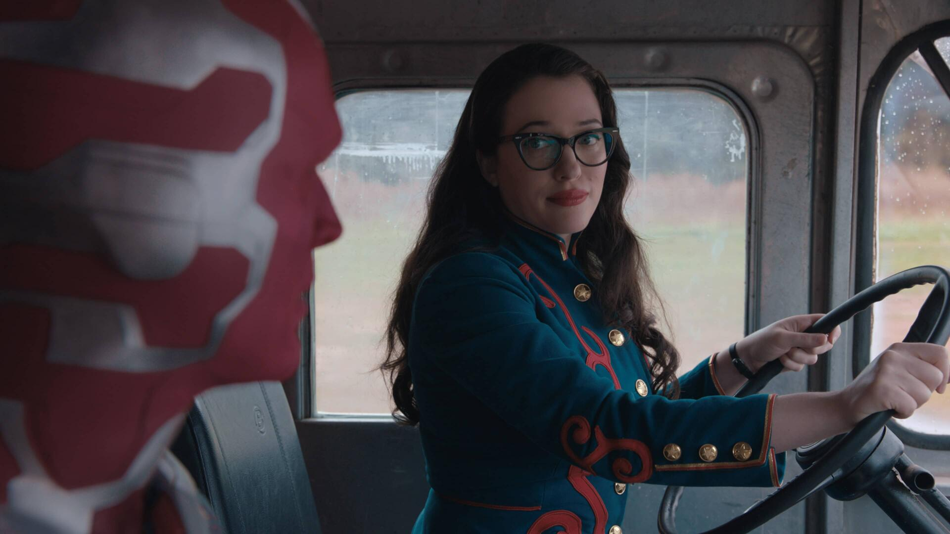 Kat Dennings as Dr. Darcy Lewis driving a funnel cake truck