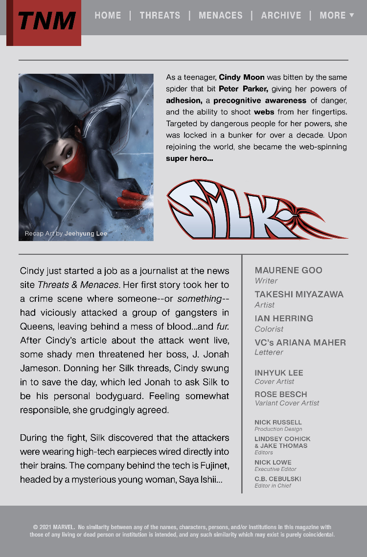 Recap page for Silk #2
