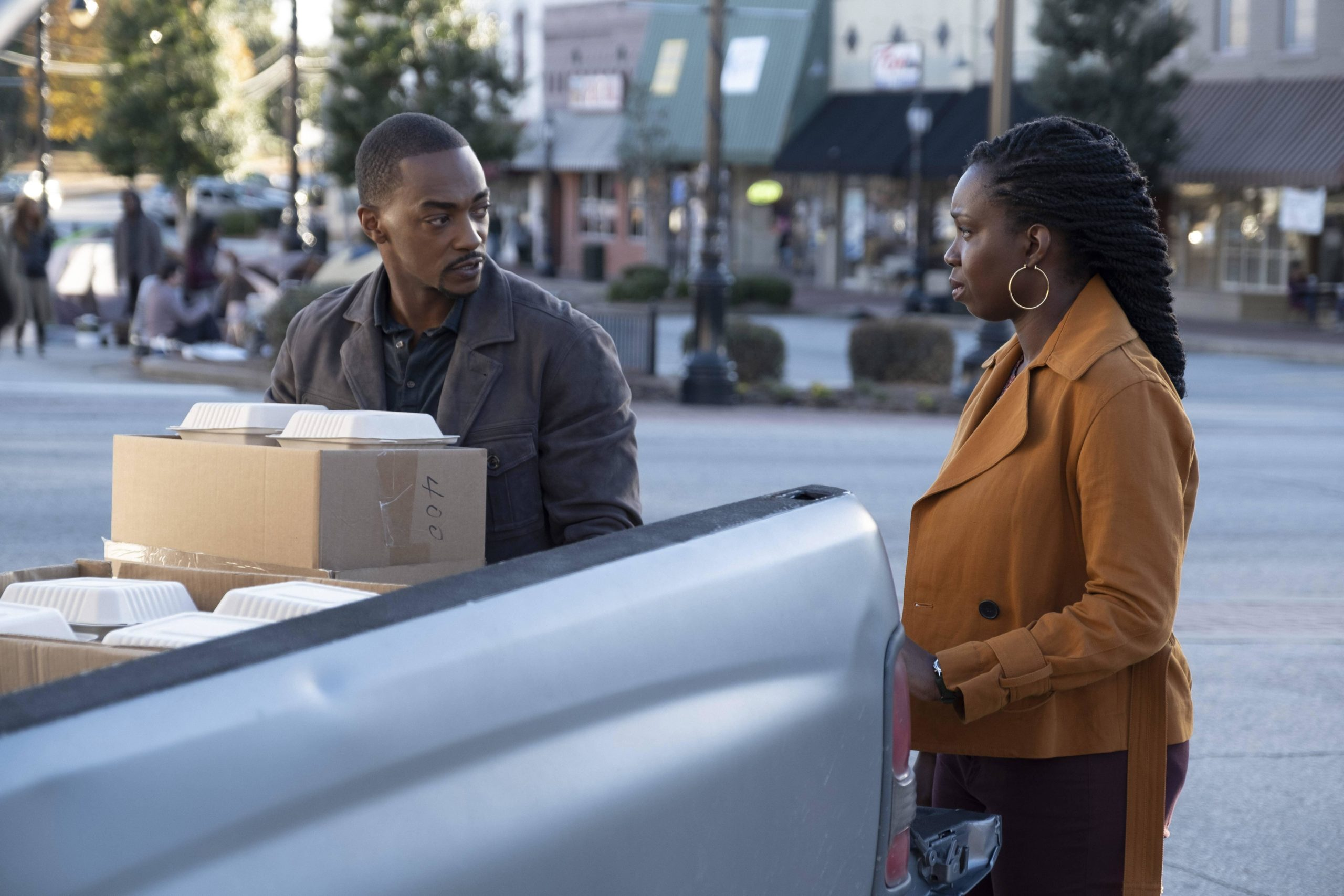 Anthony Mackie with food Wilson Family Seafood
