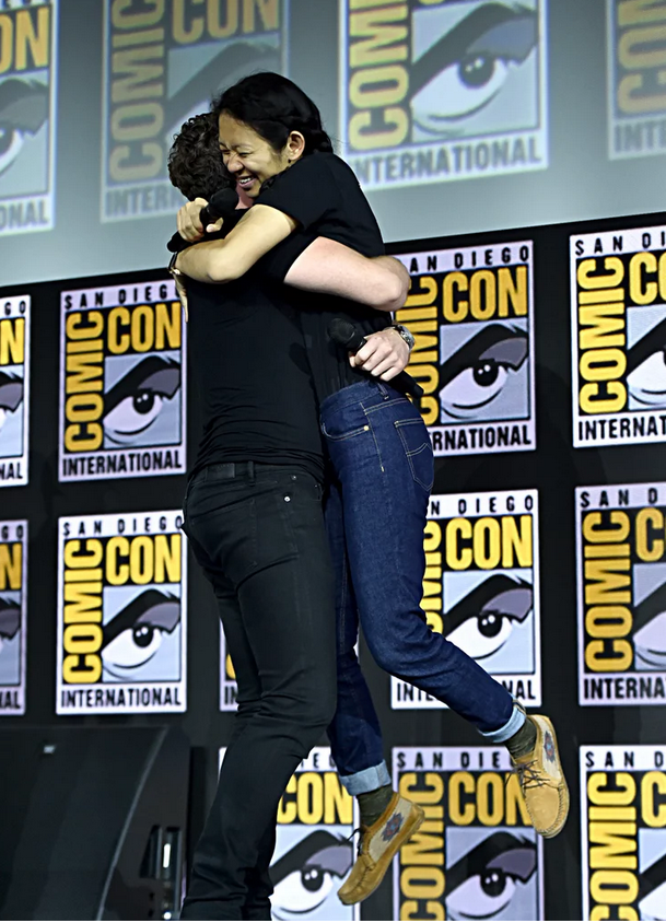 Richard Madden and Chloé Zhao at San Diego Comic-Con.