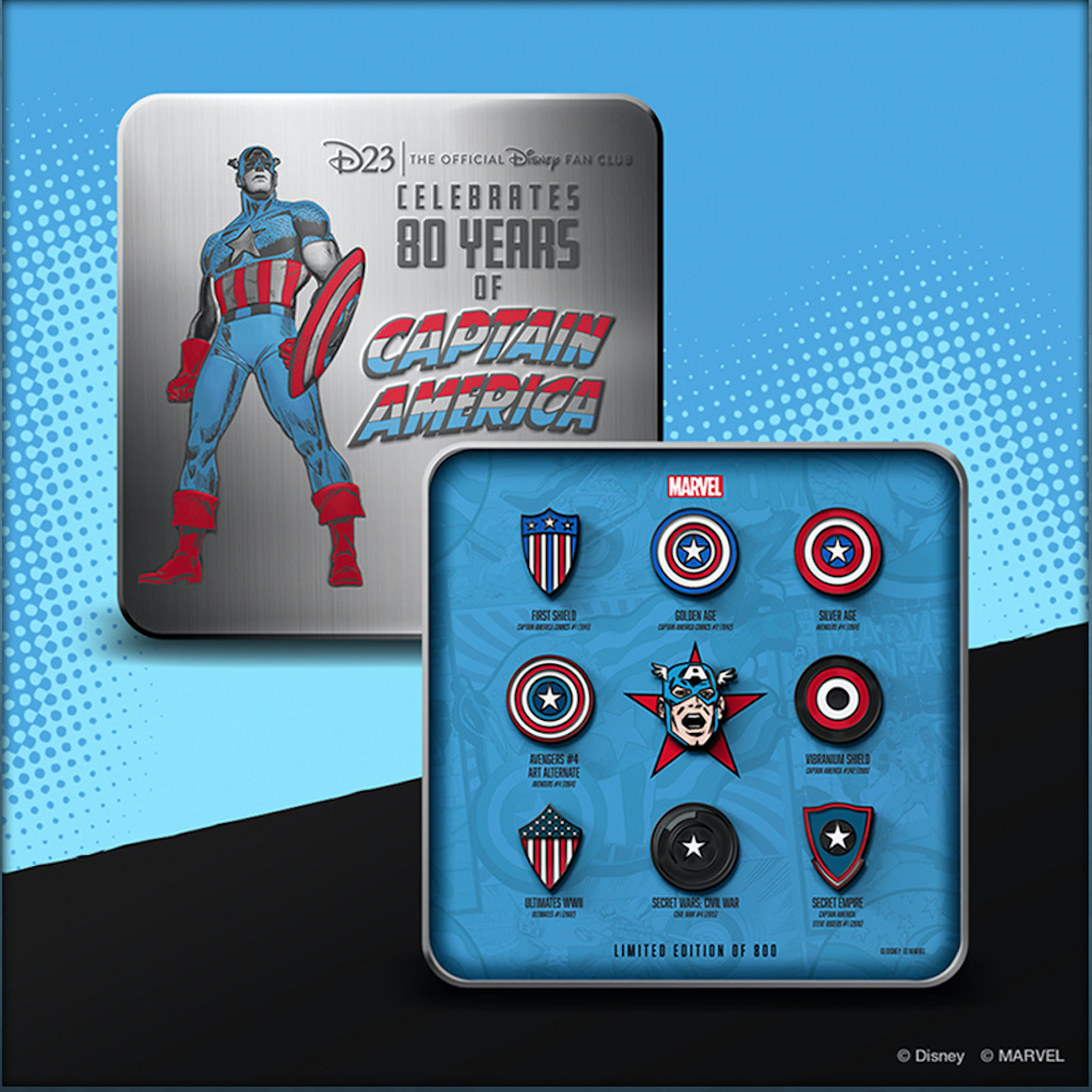 Celebrate 80 years of Captain America Pins