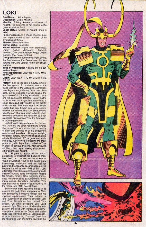 Official Handbook of the Marvel Universe Loki Page