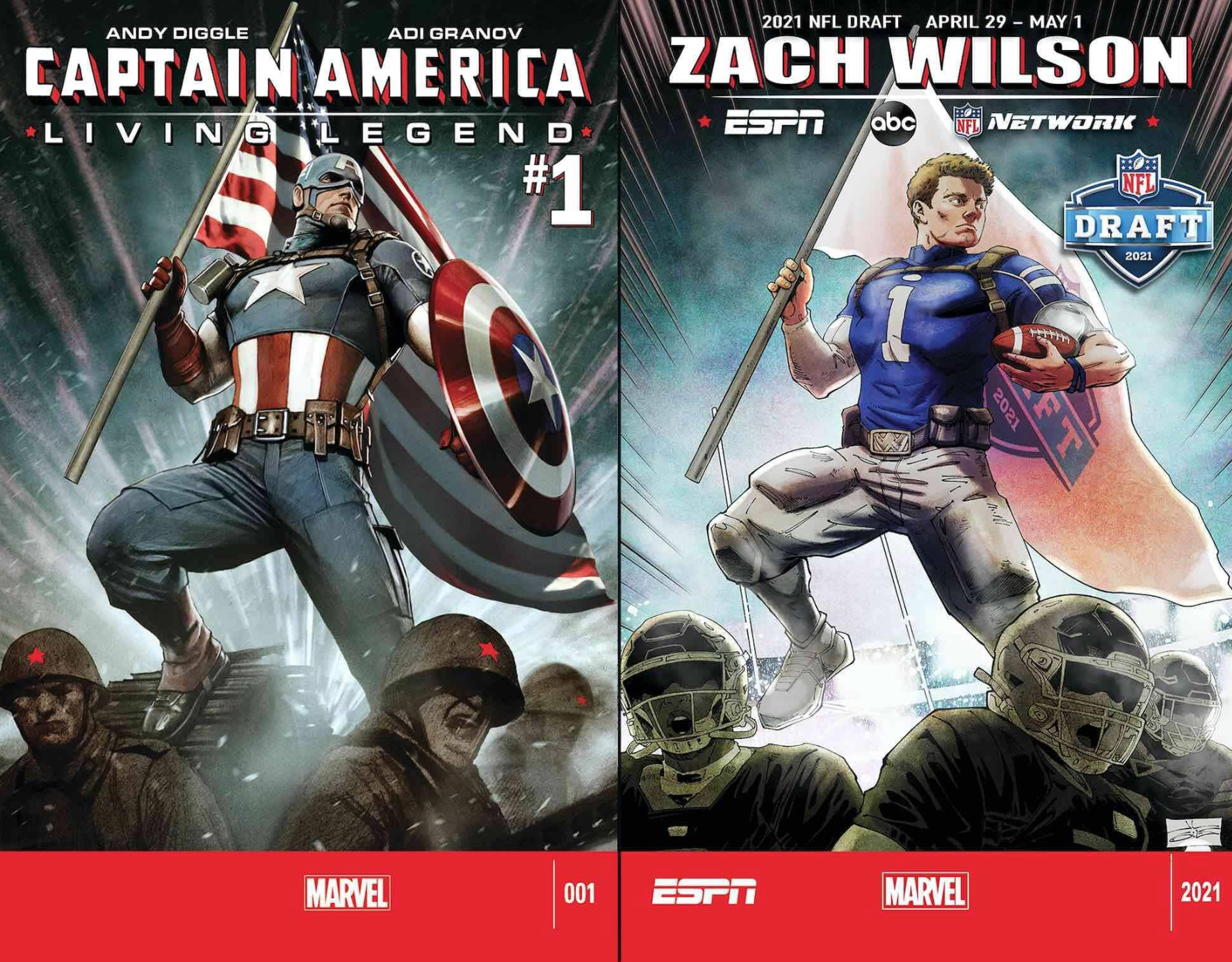 Zach Wilson by J.L. Giles and Ian Herring, after CAPTAIN AMERICA: LIVING LEGEND #1 by Adi Granov