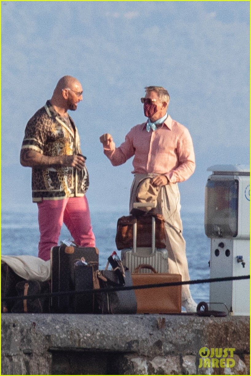 Knives Out Set photo of Dave Bautista and Daniel Craig