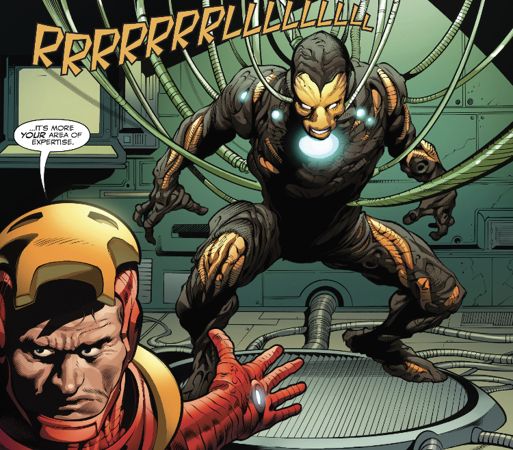 symbiote that has been bonded with Tony Stark's Extremis armor