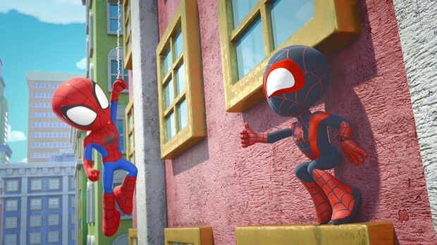 """Spidey & Miles in MARVEL'S SPIDEY AND HIS AMAZING FRIENDS - """"Power Practice."""""""