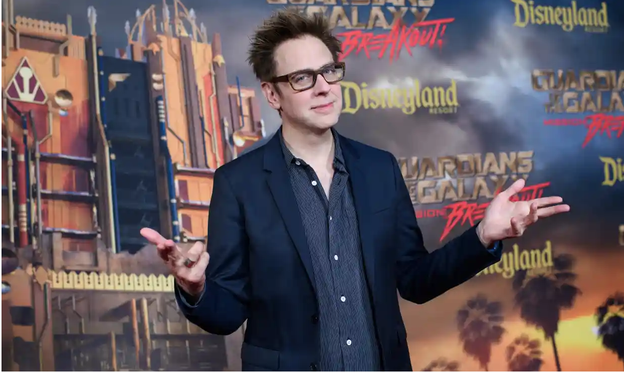 James Gunn in front of Mission Breakout background