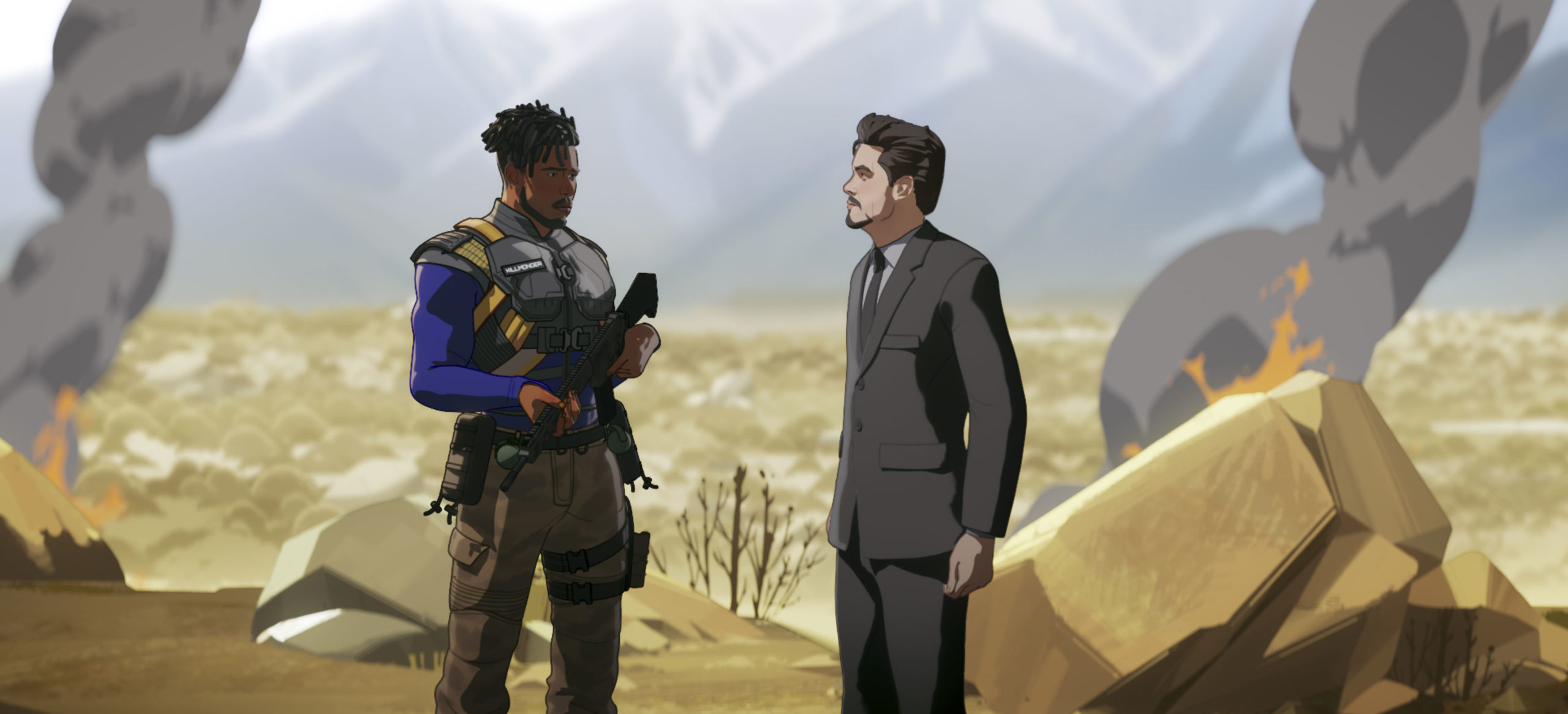 Killmonger and Tony Stark in What If...? Episode 1-6