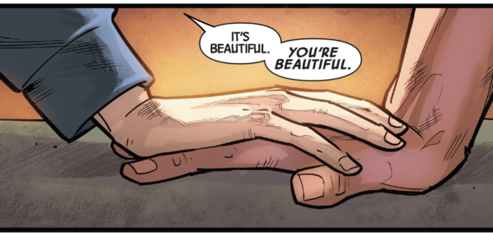 Wiccan and Hulkling holding hands