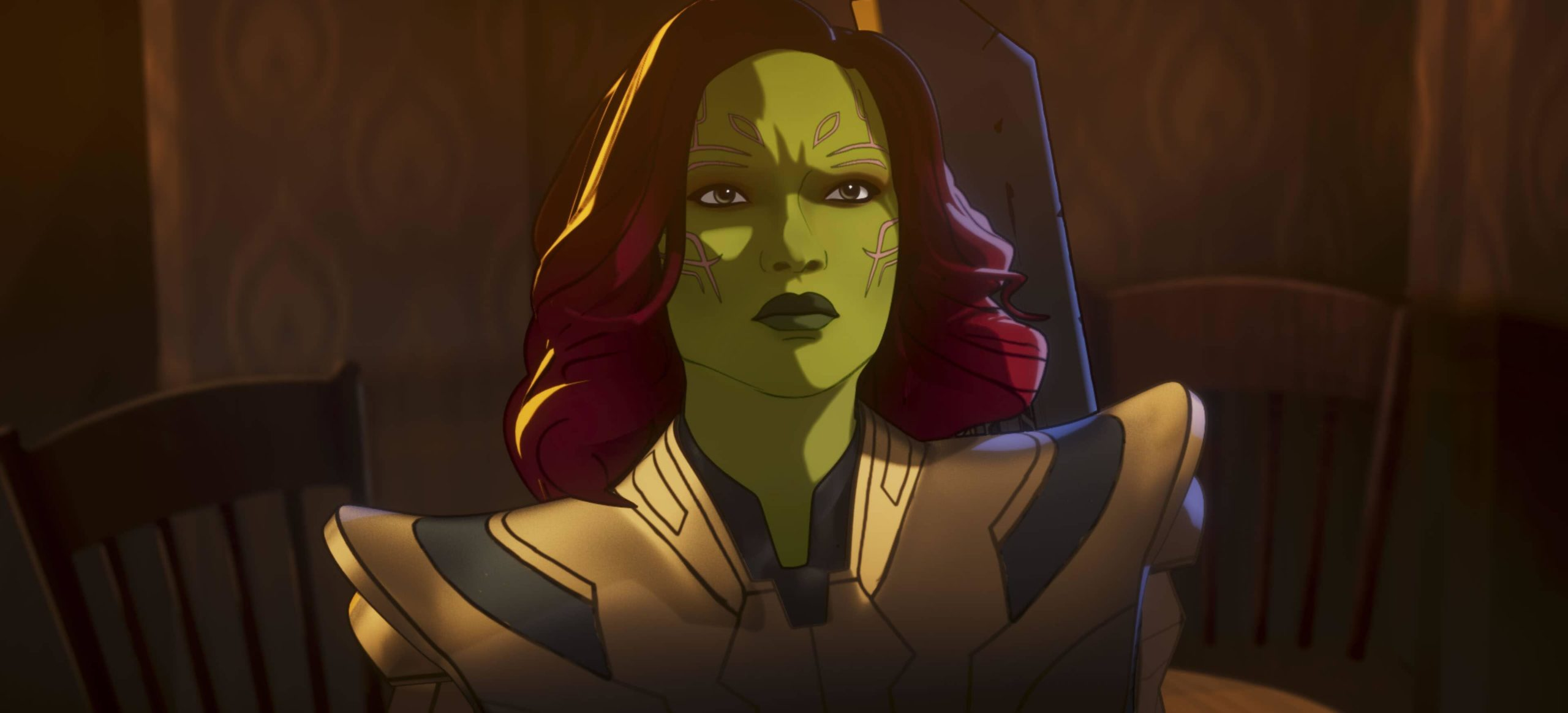 Gamora with Blade of Thanos in Marvel Studios' WHAT IF…?
