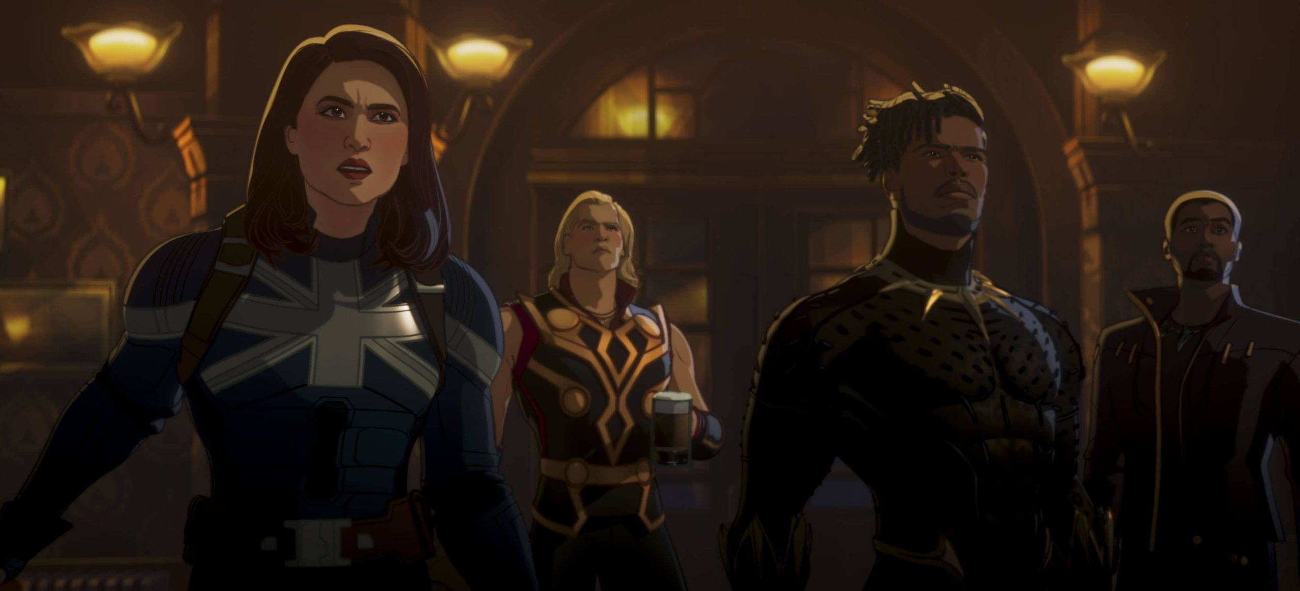 Captain Carter, Party Thor, Military Special Ops Killmonger, and T'Challa in WHAT IF…?