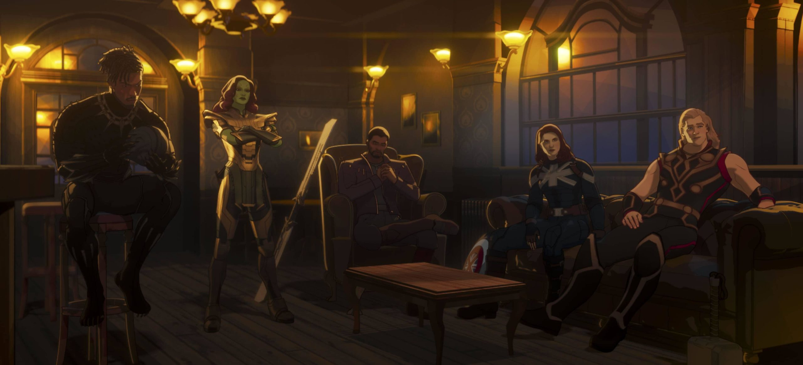 Military Special Ops Killmonger, Gamora with Blade of Thanos, T'Challa, Captain Carter, and Party Thor in WHAT IF…?