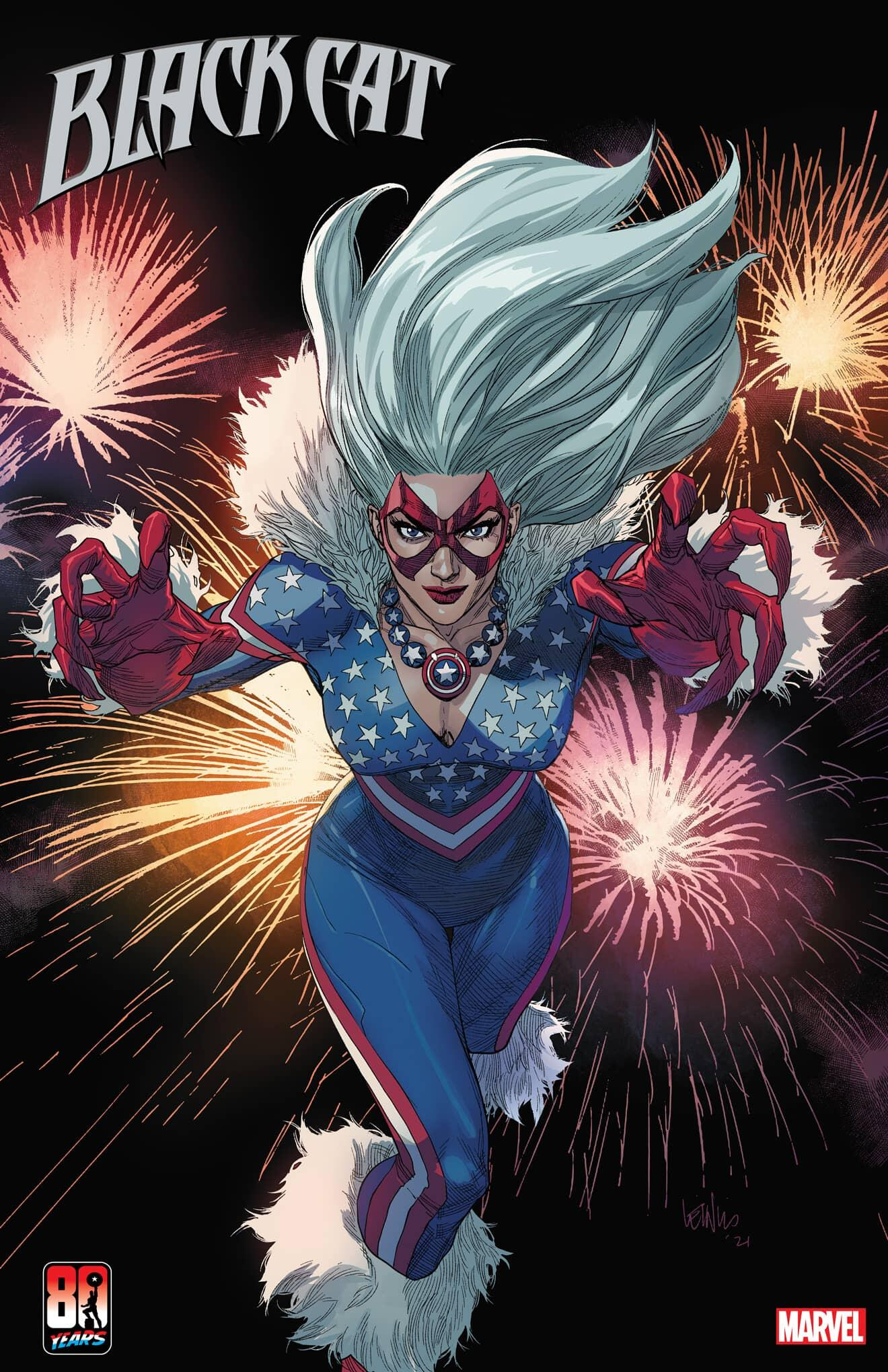 BLACK CAT #8 CAPTAIN AMERICA 80TH VARIANT COVER by LEINIL FRANCIS YU & SUNNY GHO