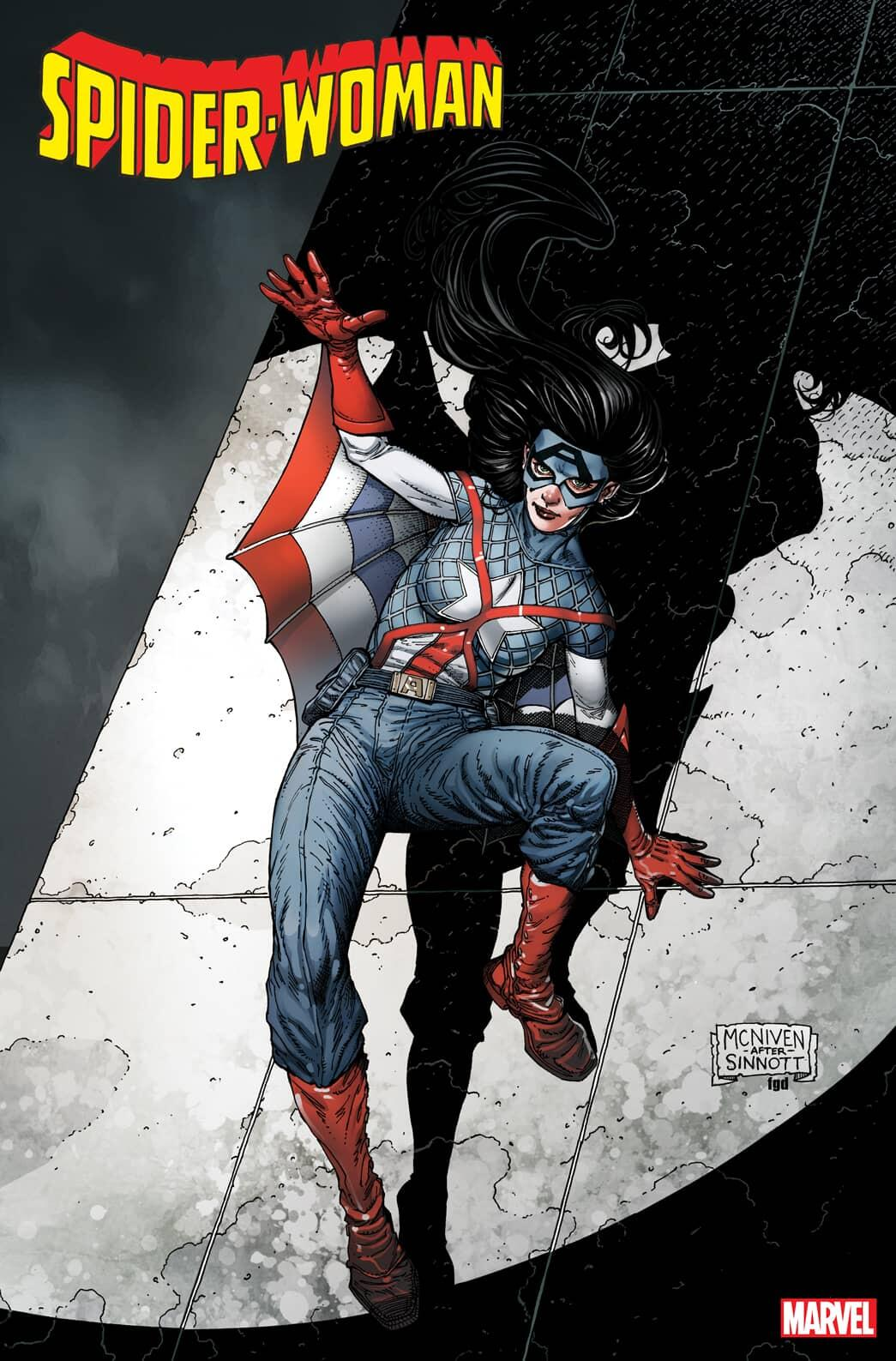 SPIDER-WOMAN #13 CAPTAIN AMERICA 80TH VARIANT COVER by STEVE MCNIVEN & FRANK D'ARMATA