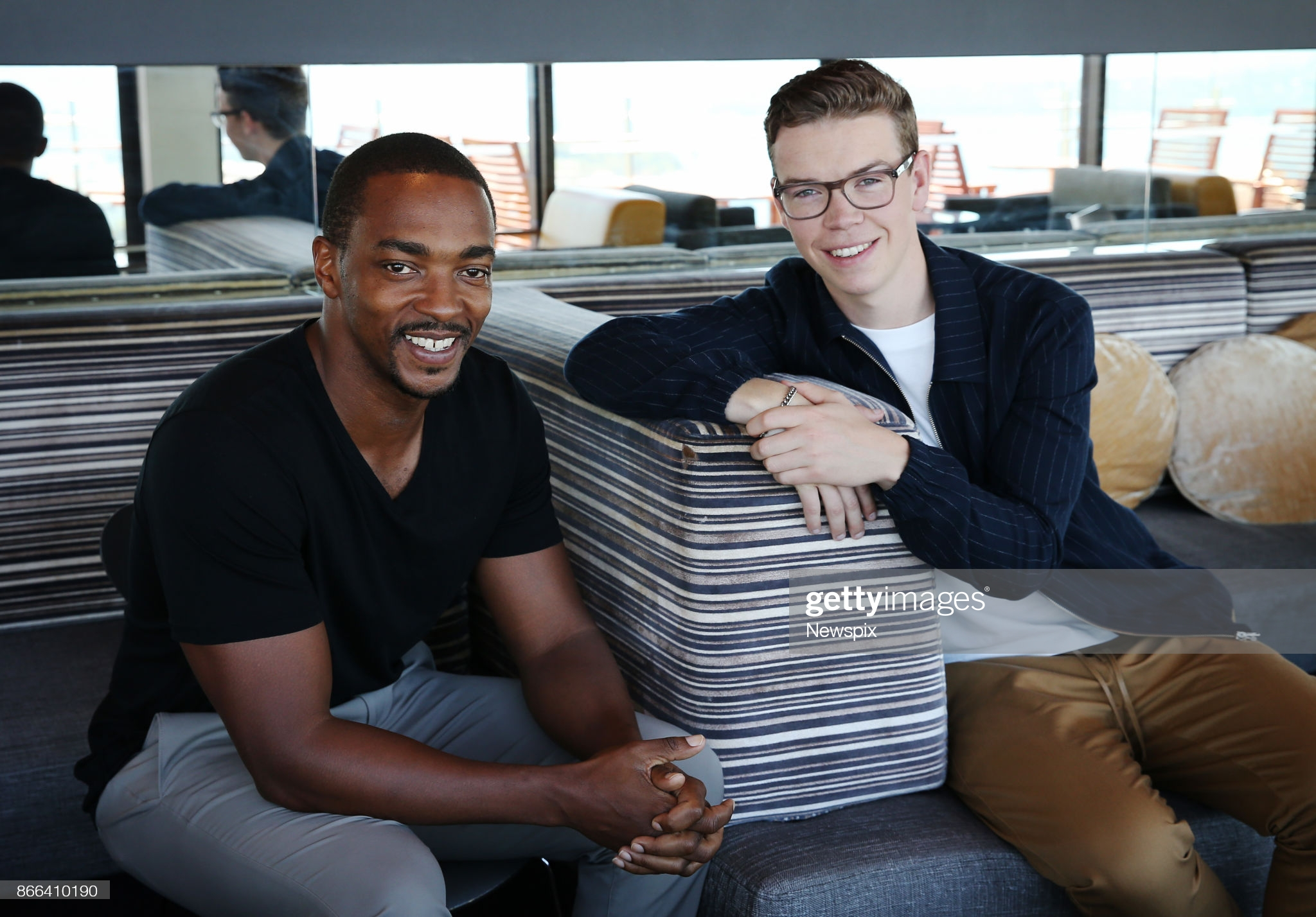 Actors Anthony Mackie and Will Poulter pose during a photo shoot in Sydney, New South Wales